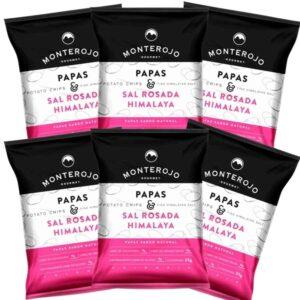 Papas Sal Rosada del Himalaya MONTEROJO 6 Pack x 25 Gramos